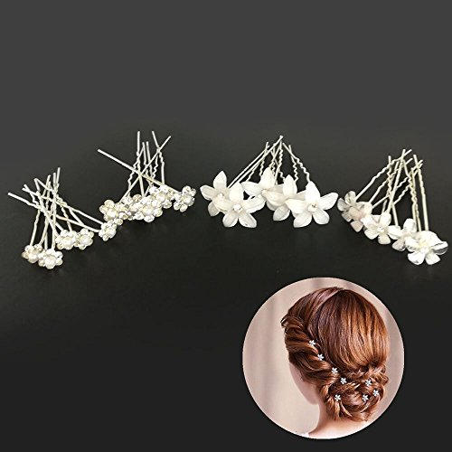 Ealicere 20pcs Hochzeit Haarnadeln Perlen Blumen Braut Haarschmuck Strass für Brautfrisur, U-förmig Haarnadeln Kommunion Party,Haarspange Für Frauen und Mädchen