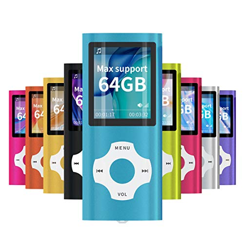 Mymahdi lettore portatile MP3 / MP4, blu con schermo LCD da 1,8 pollici e slot per schede memory card, supporto memory card TF da 128GB