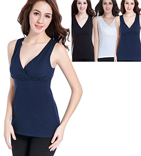 CAKYE Women Nursing Tank Top Camisole Sleep Bra For Maternity/Breastfeeding (Large, Black/Navy/White 3pack)