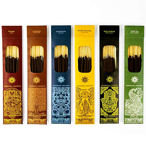 Jembrana Incense Sticks - Bali - Mix 6 Scents (144 Sticks Total), 24 Sticks Each of Sandalwood, Amber, Maha Triloka, Gardenia, Padma & Raja Harum,...