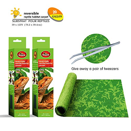 Mclanzoo Reptile Carpet,Pet Terrarium Liner,Reptiles Cage Mat/Substratefor Snakes, Chameleons, Geckos ands Kitchen Use(2sheets) with Tweezers Feeding Tongs (Printing Tropical, 20Gallon(30X12in))