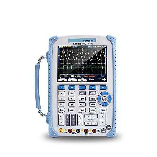 Osciloscopio 5 en 1, Hantek DSO8060 osciloscopio portátil/analizador de espectro/contador de frecuencia/generador para cualquier forma de onda, pantalla LCD TFT a color de 5,7 pulgadas