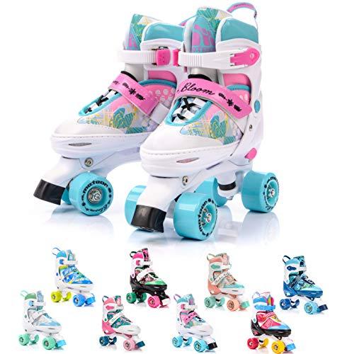 meteor Retro Patines Disco Roler Skate Patines en Paralelo 4 rueadas Quad Skate Patines de Hielo para niños de Adolescentes y Adultos tamaño Ajustable del Zapato (S 31-34, Bloom)