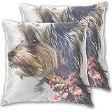 Dzkopi Yorkshire Terrier - Fundas de almohada para perro, 2...