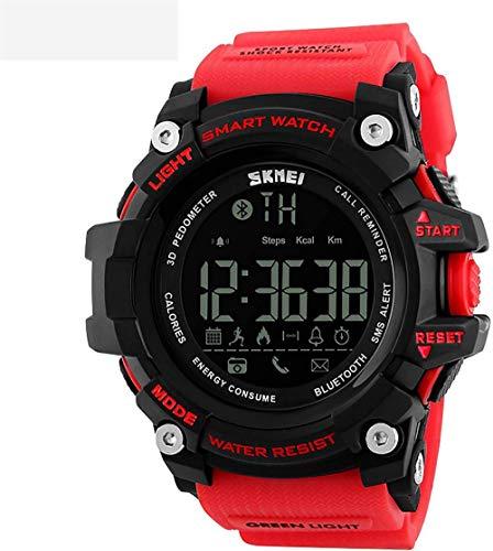 Reloj deportivo para hombre, multifunción, electrónico, podómetro, recordatorio de llamadas, conexión Bluetooth, sumergible hasta 50 m, color rojo