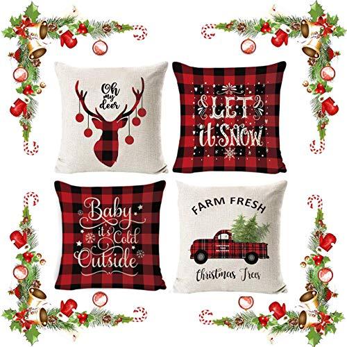 a ray of sunshine Weihnachten Kissenbezug 4 Pack,Winter dekokissen,Dekor Kissenhülle,Kissenbezug Weihnachten 45x45,kissenhülle Home bunt,Leinen Dekokissen,Schlafzimmer Dekokissen (A)