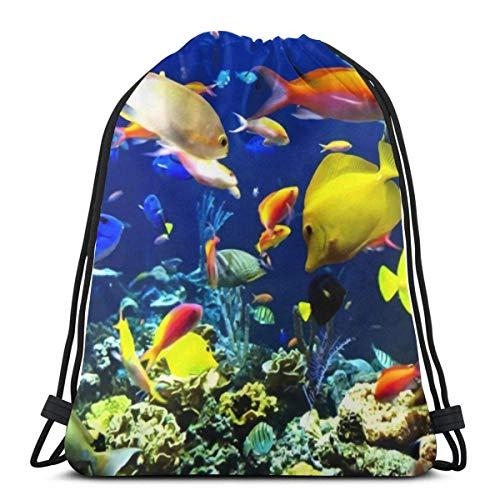 BXBX Drawstring Backpack Bag Sport Gym Sackpack Cinch Bag for School Yoga Gym Swimming Travel Unisex - Underwater Ocean Seatropical Fish