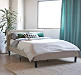 Divano Roma Furniture Upholstered Tufted Headboard & Bed Frame-32 Tall Stitched Platform Panel, Low Profile Bedframe Mattress Foundation/Solid Wood Slat Base – No Box Spring Needed Ivory, Queen