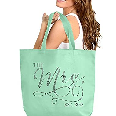 The Mrs. EST 2018 Mint Rhinestone Jumbo Canvas Bridal Tote Bag For the Bride to Be - 18  X 14  Tote(Mrs 2018 RS) MNT