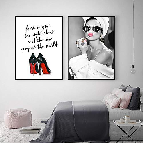 JEfunv Poster und Gemälde Klassische Audrey Hepburn Make Up Moderne Leinwand Malerei Wandkunst High Helels Bild Für Schlafzimmer Home Decor/kein Rahmen
