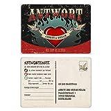 40 x Antwortkarten Hochzeit Antwort Postkarte - Rockabilly