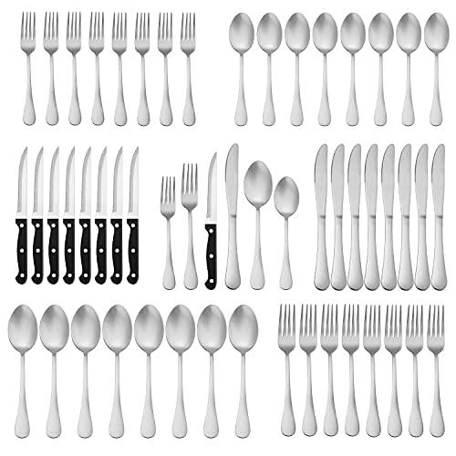 Herogo 48-Piece Matte Silverware Set with Steak Knives, Stainless Steel Flatware Cutlery Set for 8, Tableware Set Include Knife Spoon Fork, Satin Finish, Dishwasher Safe