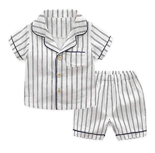 Citron ストライプ パジャマ 寝巻き 男の子 女の子 子供服 ボタン シンプル 白 青 春服 夏服 秋服 (白, 120cm)