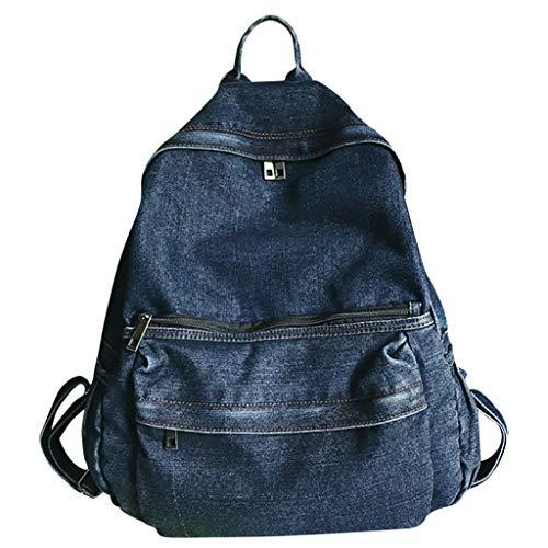 WoWer Damen Rucksack Schultasche Simple Style Multifunktionaler Denim-Rucksack mit großer Kapazität