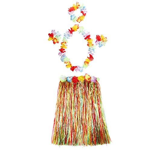 Pengyu Natural Girls Hawaiian Grass Skirt Hairband Wristband Garland Set Fancy Dress Costume Performance Decors