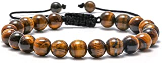 Tiger Eye Mens Bracelet Gifts - 8mm Tiger Eye Lava Rock Stone Mens Anxiety Bracelets, Stress Relief Adjustable Tiger Eye B...