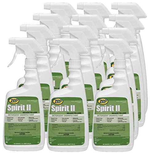 Zep Spirit II Germicidal Disinfectant Cleaner 67909 (Case of 12) - EPA Reg # 1839-83-1270 - Kills the Virus that Causes COVID-19 (SARS-Related Coronavirus 2) on Hard, Non-Porous Surfaces IN JUST 60 SECONDS! - When used according to disinfection directions