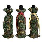 Malz und Kegel Hop 3Pcs Weinflasche Cover Dekoration Cover Taschen für Weihnachten, Hochzeit, Urlaub