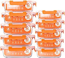 C CREST [10 Pack] Glass Food Storage Containers with Lids Airtight, Glass Lunch Boxes