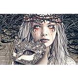 LUCKYYY Gothic Gemälde Blood Diamond Girl mit Maske Craft Drill Round Full Painting Horror Victoria Frances