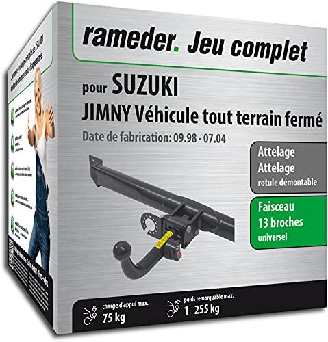 Rameder Pack, attelage rotule démontable + Faisceau 13 Broches Compatible avec Suzuki JIMNY Véhicule Tout Terrain fermé (162621-03972-2-FR)