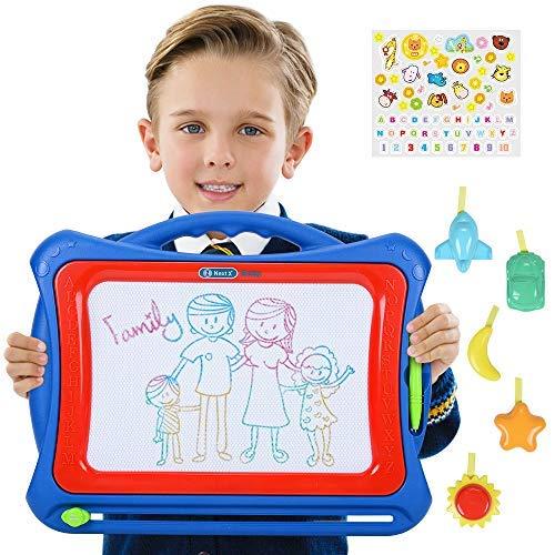 NextX Zuabertafel Große Magnetische Maltafel für Kinder ab 3 Jahren - Pädagogische Spielzeug-Geschenkset mit 5 Form-Stempeln und schönen Aufklebern