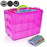 shopkins organizer - Holds 600 - Tiny Toy Box Shopkins Storage Case Organizer Container - Stackable Collectors Carrying Tote Compatible With Mini Toys Colleggbles LoL Fash'ems Tsum Tsum Hot (Pink Sparkle/Green)