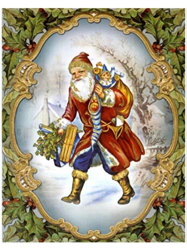 dpr. Fensterbild Nostalgie Weihnachtsmann Nikolaus mit Sack, Tasche und Strumpf Weihnachten Fenstersticker Fensterdeko Weihnachtsdeko