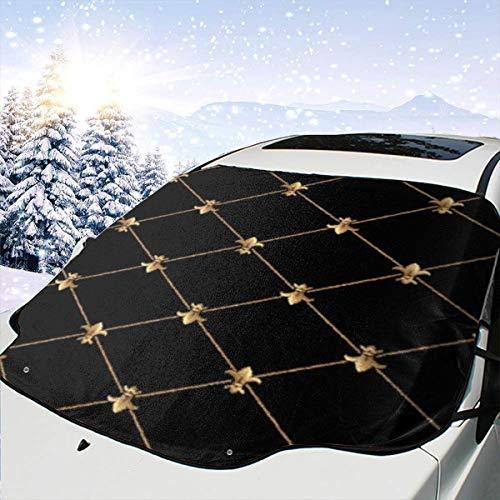 Liliylove Elegante Fleur De Lis Tapisserie, Auto-Windschutzscheibe, Sonnenschutz, Schnee, EIS-Abdeckung, hält das Fahrzeug kühl/einfach zu bedienen, passend für die meisten Autos, SUV, LKW