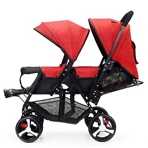 Carro Infantil Doble, Cochecito de bebé Gemelo Ligero Plegable versión biplaza de Coche de bebé biplaza, Ruedas a Prueba de explosiones