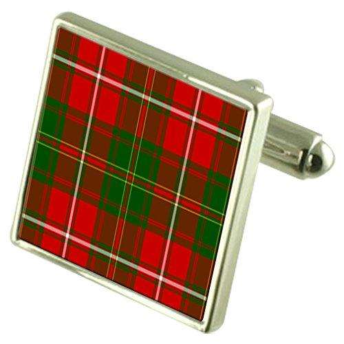 Select Gifts Tartan Clan Heu Sterling Silber Manschettenknöpfe graviert Box