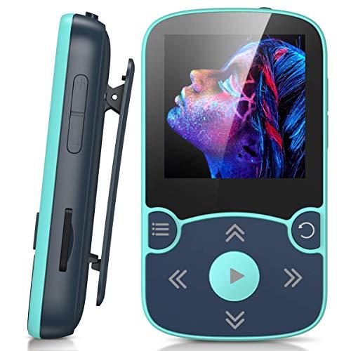 AGPTEK MP3 Player Bluetooth 5.0 Sport 32GB mit 1,5 Zoll TFT Farbbildschirm Mini Musik Player mit Clip, Unterstützt bis 128GB SD Karte, mit unabhängiger Lautstärketaste