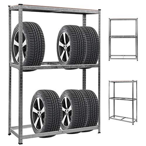 DREAMADE Reifenregal für 8 Reifen belastbar bis 795 kg, Reifenständer Werkstattregal SteckregalLagerregal aus Metall, verstellbares Schwerlastregal 180 x 120 x 40 cm