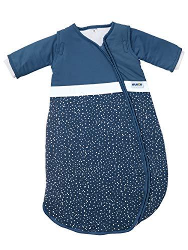 Gesslein 772210 Bubou - Saco de dormir para bebé con mangas desmontables para todo el año (90 cm, 480 g), diseño de lunares, color azul y blanco
