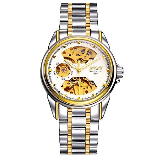 GUOJIAYI Reloj mecánico para hombre esqueleto automático dorado resistente al agua reloj automático de cuerda de acero inoxidable