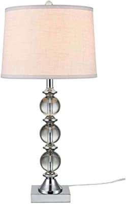 Modern Table Lamp Stacked Crystal Spheres White Drum Shade For Living Room Family Bedroom