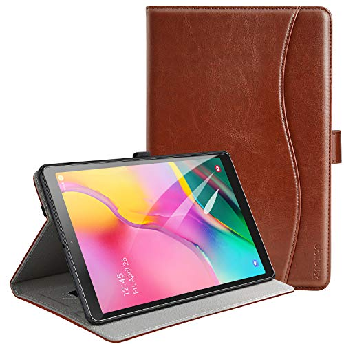 ZtotopCase for Samsung Galaxy Tab A 10.1 Inch Tablet 2019(SM-T510/T515), PU Leather Folding Stand Folio Cover with Pen Holder, Card Pocket and Multiple Viewing Angles,Brown