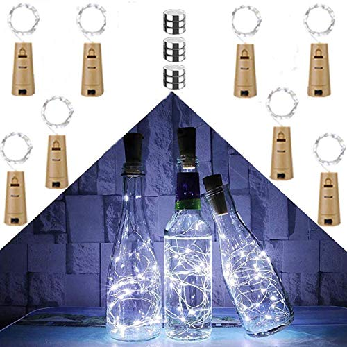 Chipark Bottle Lights with Cork, 8 Pack Cork Shaped Battery Operated Wine String Lights Silver Wire Fairy Mini DIY Lights for Party Birthday Christmas Wedding Home Table Décor, Cool White