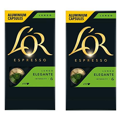 Douwe Egberts LOR Espresso Lungo Elegante, Kaffeekapseln, Nespresso Kompatibel, gemahlener Röstkaffee, 20 Kaffee Kapseln