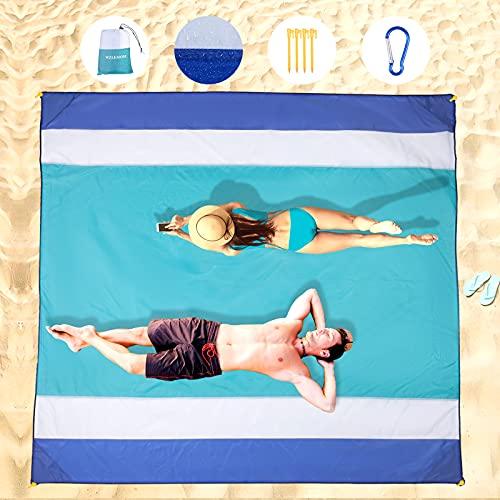 WZLEMOM Coperta Picnic Impermeabile, Coperta da Spiaggia, Anti Sabbia Tappetino da Picnic Extra Large 210 X 200cm, Coperta da Picnic,con 4 tasche angolari stoccaggio, per Spiaggia, Campeggio e Altro
