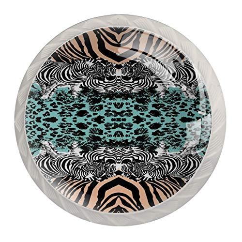 Schubladengriffe ziehen für Home Kitchen Dresser Wardrobe,Zebra Leopard Print Art