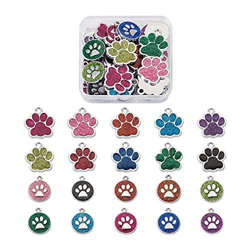 Craftdady 40 colgantes de huellas de perro y gato esmaltados, con diseño de huella de animal doméstico, para pulseras, collares, pendientes, joyas, manualidades