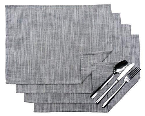 Exerz Cosyaurora – – Juego de 4 manteles Individuales de Lino Natural/Base de Lino/Suave/Tela de Lino manteles Individuales de Comedor (Light Grey)