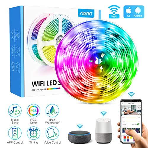 Aerb 5M WIFI Tira LED Smart, Luces LED de 16 millones de colores, Sincroniza con la Música, Control de voz, Program Persanalizado, Compatibles con Alexa y Google Assitant, Echo, Para Decoración
