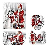 メリークリスマスバスルームカーテンセットサンタクロース防水シャワーカーテン滑り止めラグクリスマスシャワーカーテンバスルーム滑り止めクリスマスデコレーション