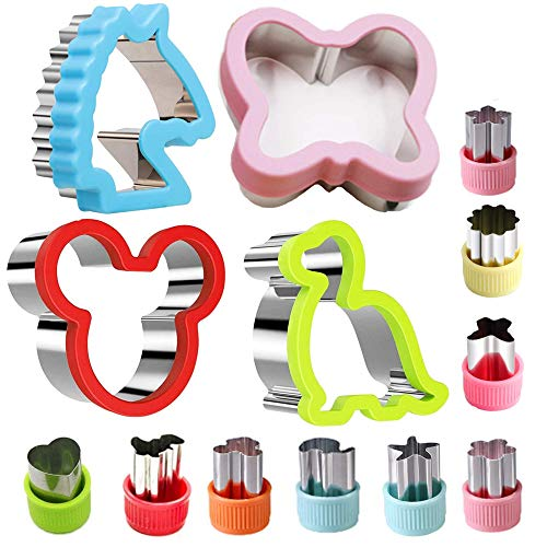 Stainless Steel Sandwiches Cutter set(13 Pack), Include Mickey Mouse, Butterfly, Dinosaur, Unicorn and Vegetable Cutter Shapes, Kids Vegetable Fruit Cutter Shape Set
