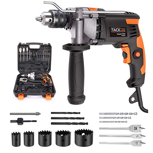 Hammer Drill, TACKLIFE 7.1-Amp 3000RPM, 48000BPM Corded Drill with 15 Drill Bits Set, Carrying Case, Rotatable Handle, Aluminum Shell, Hammer and Drill 2 Modes in 1, Suitable for DIY Projects - PID03B