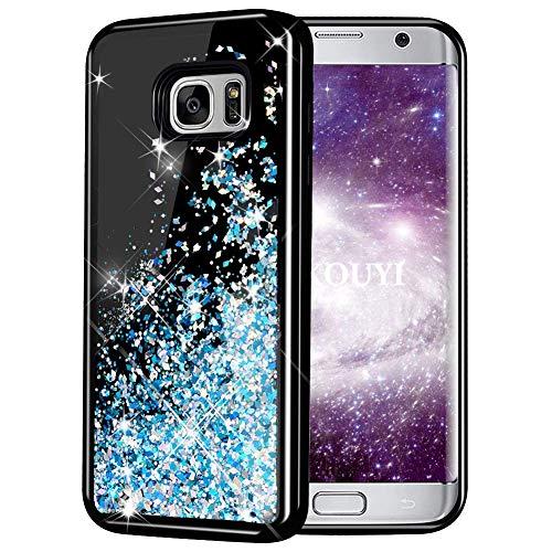 KOUYI Cover Galaxy S7 Edge, 3D Glitter Liquido Silicone TPU Bumper Telefono Cellulari Smartphone Protezione Cover,3D Bling Protettiva Case Custodia per Samsung Galaxy S7 Edge (Blu Argento)
