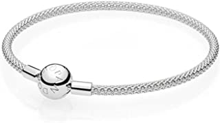 PANDORA Jewelry - Moments Mesh Charm Bracelet for Women in Sterling Silver with No Stone