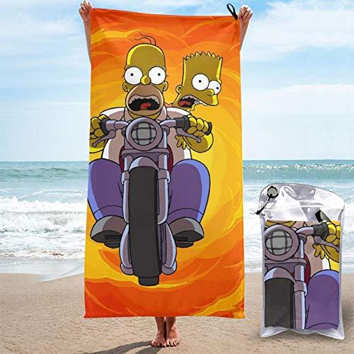 JJKKFG-H Simpsons Homer Bart schnelltrocknendes Handtuch, Mikrofaser, leicht, für weiche Badetücher für Pool, Schwimmen, Reisen, Strandstuhl, Fitnessstudio, Sport, 70 x 140 cm